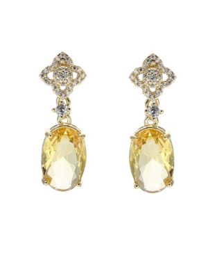 A & M Gold-Tone Pear Shaped Topaz Accent Earrings