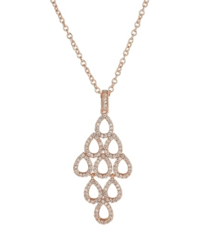 A & M Rose Tone Layered Chandelier Pendant Necklace