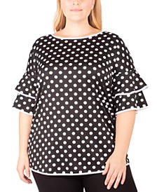 Plus Size Ruffle-Sleeve Dot-Print Top