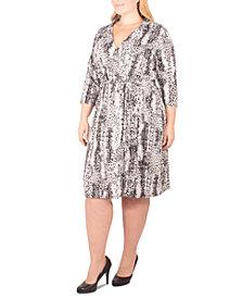 NY Collection Plus Size Animal-Print Faux Wrap Dress