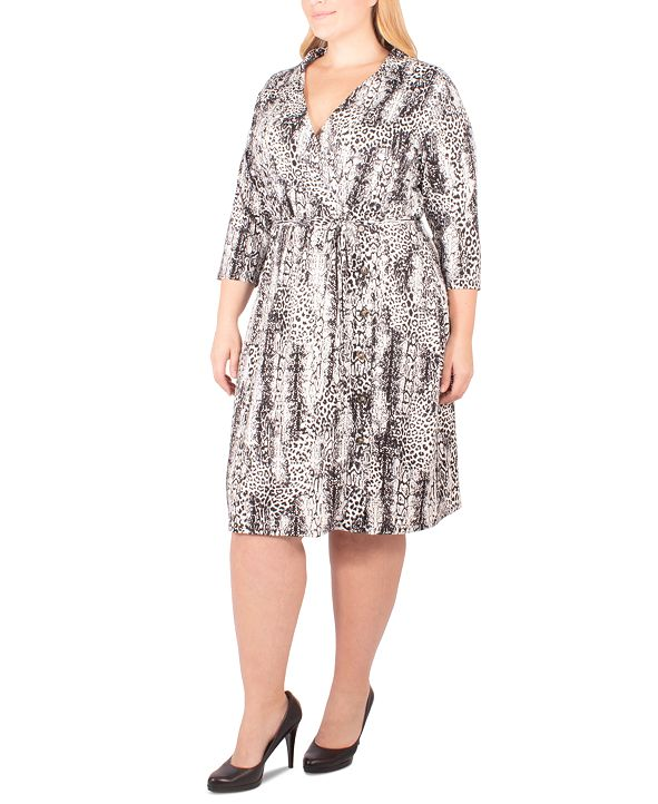 NY Collection Plus Size Animal-Print Faux Wrap Dress