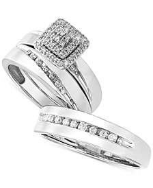 His & Her Channel-Set Diamond Wedding Set Collection in 14k White Gold