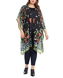 Plus Size Floral-Print Kimono