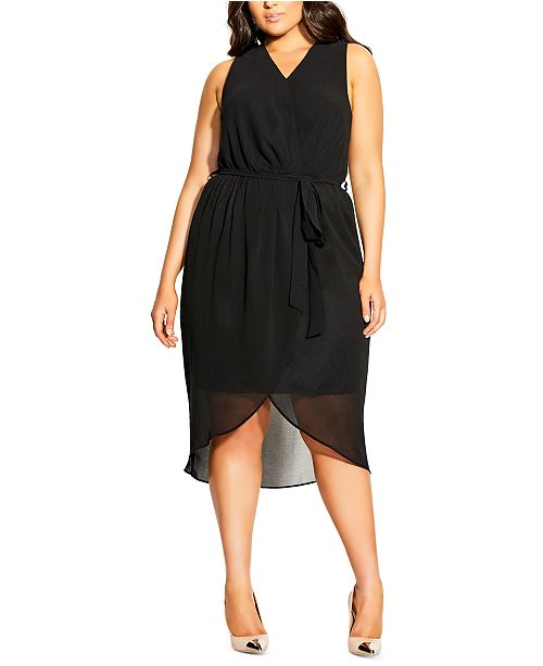 City Chic Trendy Plus Size Sleeveless Faux-Wrap Dress