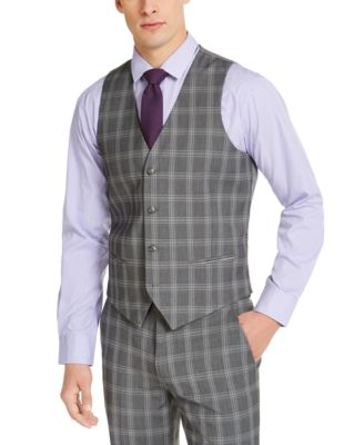 Men's Slim-Fit Stretch Gray Plaid Suit Vest, Created for Macy's