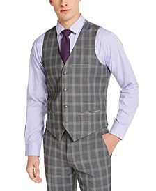 Men's Slim-Fit Stretch Gray Plaid Suit Vest, Created for Macy's
