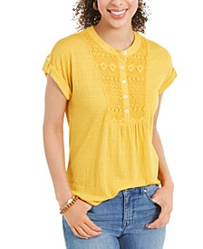 Crochet-Bib Textured Top, Created for Macy's