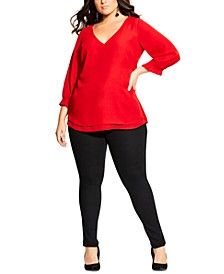 Trendy Plus Size Pleated-Sleeve Top