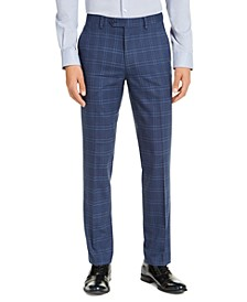 Men's Slim-Fit Stretch Navy Blue Plaid Suit Pants, Created for Macy's