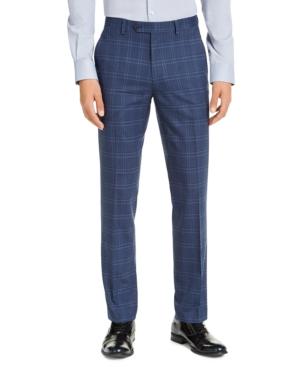 Men's Slim-Fit Stretch Navy Blue Plaid Suit Pants