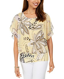 Printed Banded-Hem Flutter-Sleeve Top, Created for Macy's