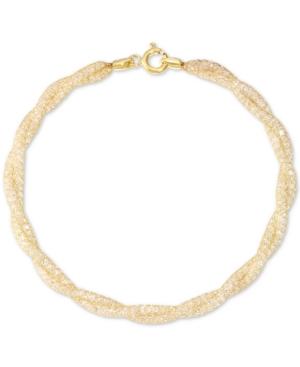 Cubic Zirconia Braided Toscana Crochet Link Bracelet in 14k Gold