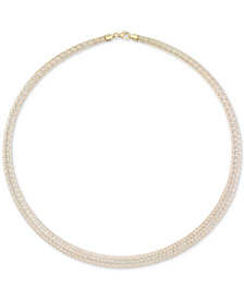 "Italian Gold Graduated Two-Tone Ribbon Wire 18"" Statement Necklace in 14k Gold & White Gold"