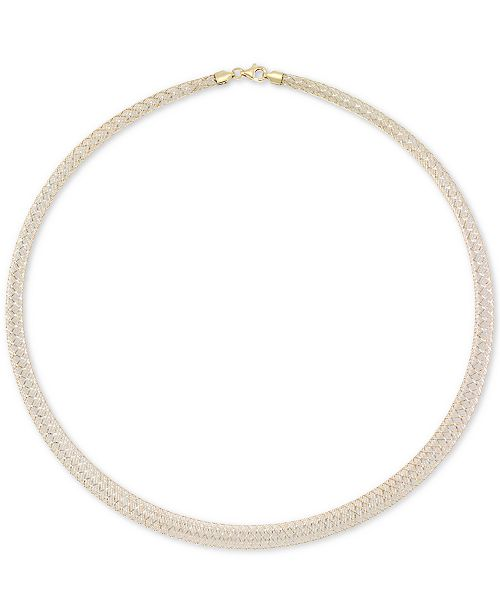 """Italian Gold Graduated Two-Tone Ribbon Wire 18"""" Statement Necklace in 14k Gold & White Gold"""