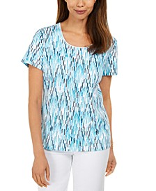 Petite Ikat-Print Top, Created for Macy's