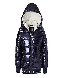 Big Girl Metallic Puffer Jacket