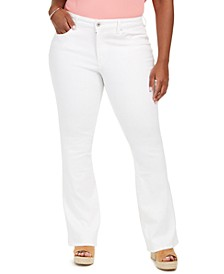 Trendy Plus Size Adored High-Rise Flare-Leg White Jeans