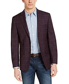 Men's Slim-Fit Wine Red/Blue Plaid Sport Coat
