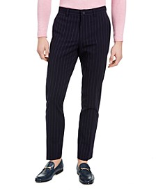 Men's Slim-Fit Stretch Navy Blue Seersucker Stripe Suit Pants