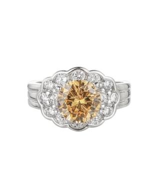 A & M Silver-Tone Orange Flower Cluster Ring