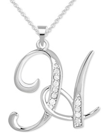 "Diamond H Initial 18"" Pendant Necklace (1/10 ct. t.w.) in Sterling Silver"