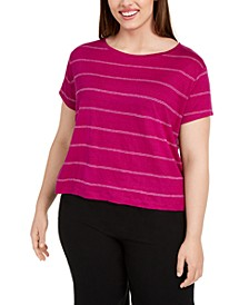 Plus Size Striped Linen Top
