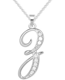 "Diamond Z Initial 18"" Pendant Necklace (1/10 ct. t.w.) in Sterling Silver"