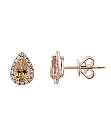 EFFY® Morganite (1-3/8 ct. t.w.) & Diamond (1/10 ct. t.w.) Stud Earrings in 14k Rose Gold
