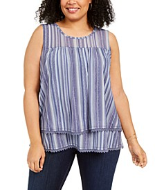 Plus Size Striped Sleeveless Top, Created for Macy's