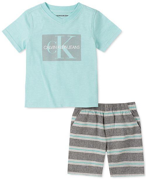 Calvin Klein Toddler Boys 2-Pc. Logo V-Neck T-Shirt & Yarn-Dyed Stripe Oxford Shorts Set