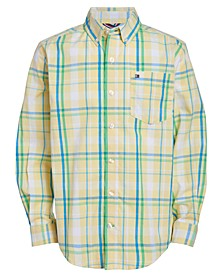 Little Boys Sadi Stretch Plaid Shirt