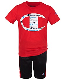 Little Boys 2-Pc. C Logo with Script Fill T-Shirt & Taped Shorts Set
