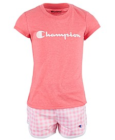 Little Girls 2-Pc. Classic Script Logo T-Shirt & Gingham French Terry Shorts Set