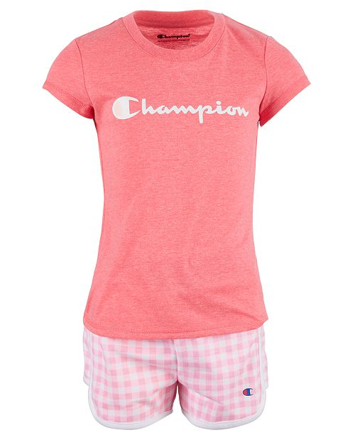 Champion Toddler Girls 2-Pc. Classic Script Logo T-Shirt & Gingham French Terry Shorts Set