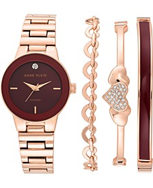 Women's Diamond-Accent Rose Gold-Tone Bracelet Watch 30mm Gift Set