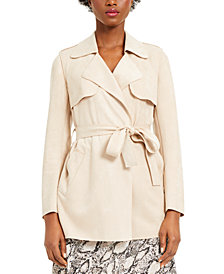 Bar III Faux-Suede Belted Jacket, Created for Macy's