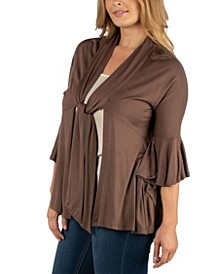 Three Quarter Tie Front Ruffle Plus Size Cardigan
