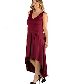 Sleeveless Fit N Flare High Low Plus Size Dress