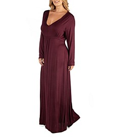 Semi Formal Long Sleeve Plus Size Maxi Dress