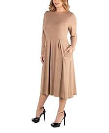 Midi Length Fit N Flare Pocket Plus Size Dress