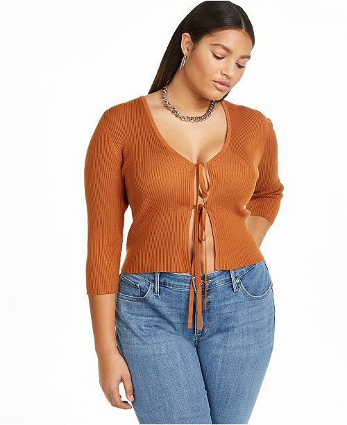 Danielle Bernstein Plus Size Tie Front Cardigan, Created for Macy's