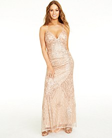 Juniors' Sequined Lace-Up Gown