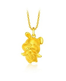 Rabbit Charm Pendant in 24K Gold