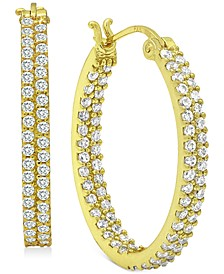 Cubic Zirconia In & Out Oval Hoop Earrings in 18k Gold-Plated Sterling Silver