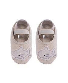 Baby Boys and Girls Anti-Slip Cotton Socks with Shark Applique