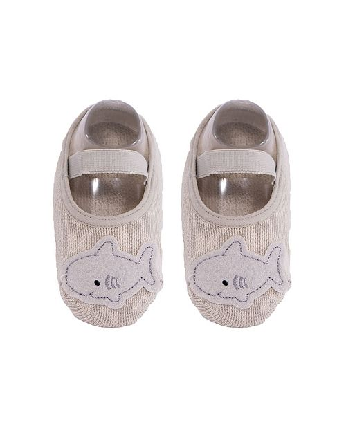 NWALKS Baby Boys and Girls Anti-Slip Cotton Socks with Shark Applique