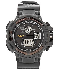 Mens Gray Rubber Strap Digital Multiple Display Sports Watch 51mm