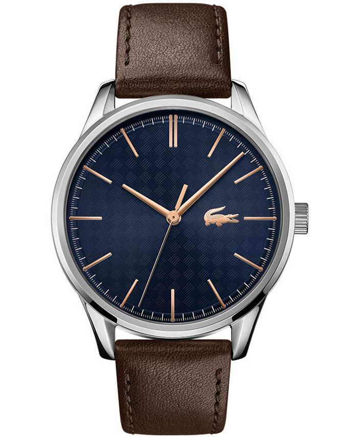 Lacoste - Men's Vienna Brown Leather Strap Watch 42mm