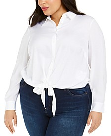 Plus Size Tie-Hem Shirt
