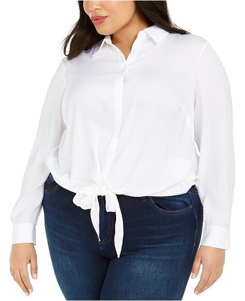 Michael Kors Plus Size Tie-Hem Shirt